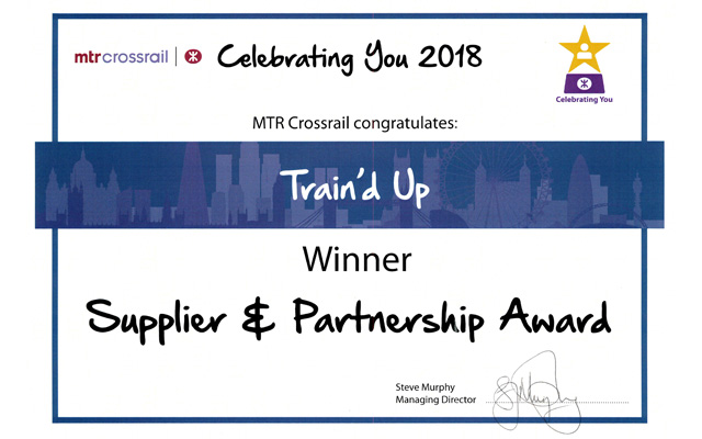 Train'd Up are delighted to have won the prestigious MTR Crossrail 'Supplier & Partnership Award' for 2018.
